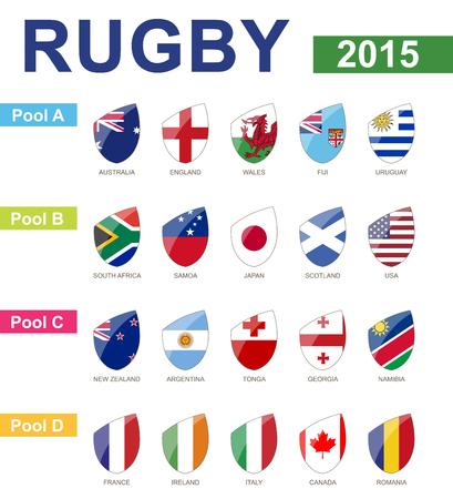 banderas del mundo: Copa Mundial de Rugby 2015, Todos Piscinas, toda la bandera