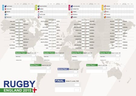 a2: England 2015, Rugby 2015 with background, Match Schedule, all matches, time and place. Country Flags. Size A2.