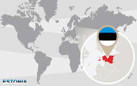 magnified: World map with magnified Estonia. Estonia flag and map.