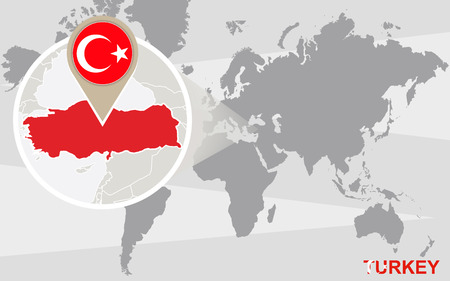 World map with magnified Turkey. Turkey flag and map. Illustration