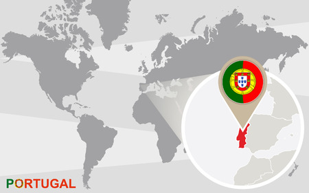 drapeau portugal: World map with magnified Portugal. Portugal flag and map.