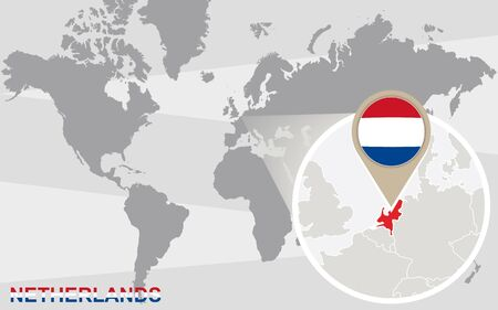 map of netherlands: World map with magnified Netherlands. Netherlands flag and map.
