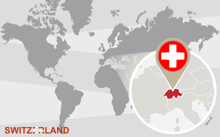 magnified: World map with magnified Switzerland. Switzerland flag and map.