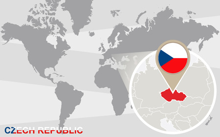 magnified: World map with magnified Czech Republic. Czech Republic flag and map.
