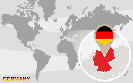 magnified: World map with magnified Germany. Germany flag and map.