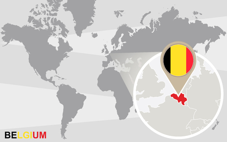 magnified: World map with magnified Belgium. Belgium flag and map.