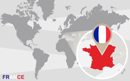magnified: World map with magnified France. France flag and map.