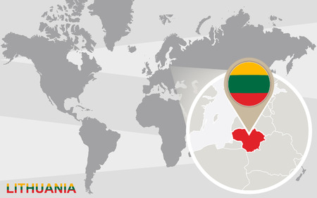 lithuania flag: World map with magnified Lithuania. Lithuania flag and map.