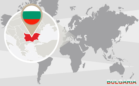 World map with magnified Bulgaria. Bulgaria flag and map.