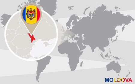 World map with magnified Moldova. Moldova flag and map.