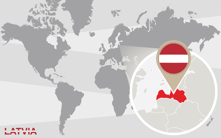magnified: World map with magnified Latvia. Latvia flag and map. Illustration
