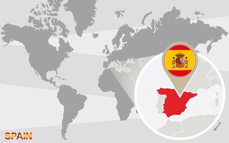 magnified: World map with magnified Spain. Spain flag and map.