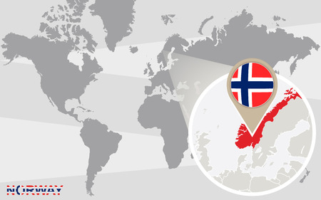 magnified: World map with magnified Norway. Norway flag and map.