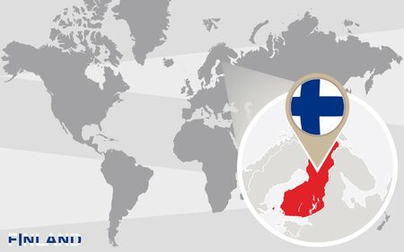 FINLAND flag: World map with magnified Finland. Finland flag and map.