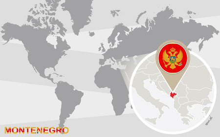 southeastern asia: World map with magnified Montenegro. Montenegro flag and map.