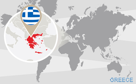 Abstract blue world map with magnified greece greece flag and world map with magnified greece greece flag and map vector gumiabroncs Images