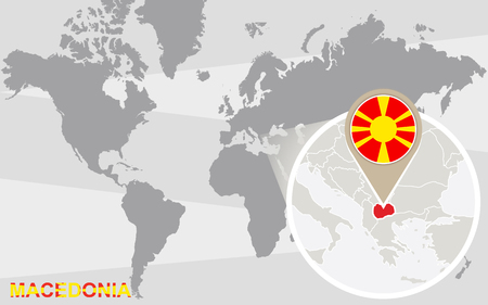 magnified: World map with magnified Macedonia. Macedonia flag and map.