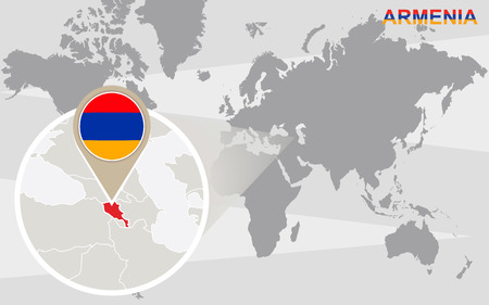map of armenia: World map with magnified Armenia. Armenia flag and map.