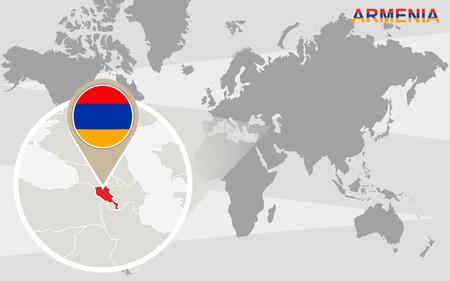 armenia: World map with magnified Armenia. Armenia flag and map.