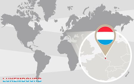 magnified: World map with magnified Luxembourg. Luxembourg flag and map. Illustration