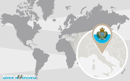 marino: World map with magnified San Marino. San Marino flag and map.