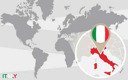 magnified: World map with magnified Italy. Italy flag and map.