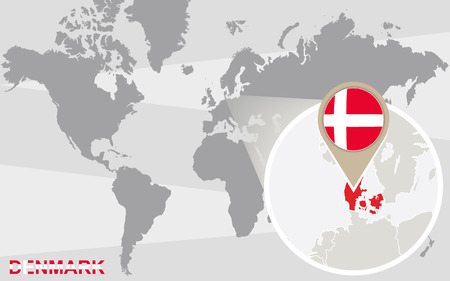 denmark flag: World map with magnified Denmark. Denmark flag and map. Illustration