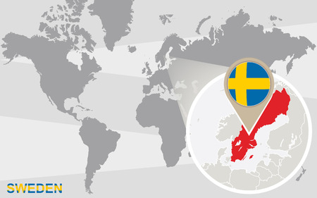 World Map With Magnified Sweden. Sweden Flag And Map. Royalty Free ...
