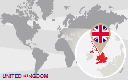 magnified: World map with magnified United Kingdom. United Kingdom flag and map. Illustration