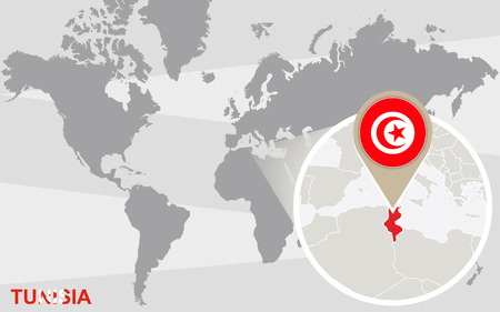 magnified: World map with magnified Tunisia. Tunisia flag and map. Illustration