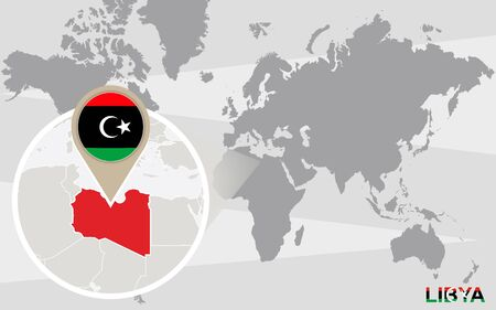 magnified: World map with magnified Libya. Libya flag and map.