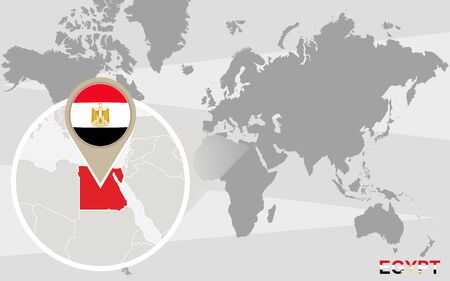 magnified: World map with magnified Egypt. Egypt flag and map. Illustration