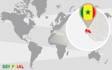 dakar: World map with magnified Senegal. Senegal flag and map. Illustration