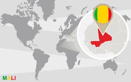 magnified: World map with magnified Mali. Mali flag and map.