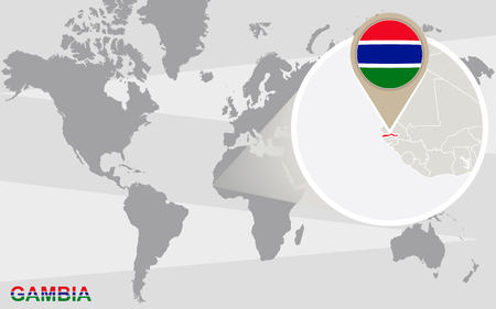 gambia: World map with magnified Gambia. Gambia flag and map.