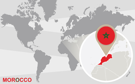 World map with magnified Morocco. Morocco flag and map.