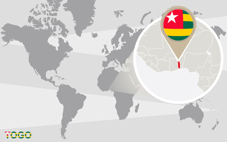 togo: World map with magnified Togo. Togo flag and map. Illustration