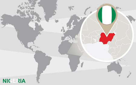 nigeria: World map with magnified Nigeria. Nigeria flag and map. Illustration
