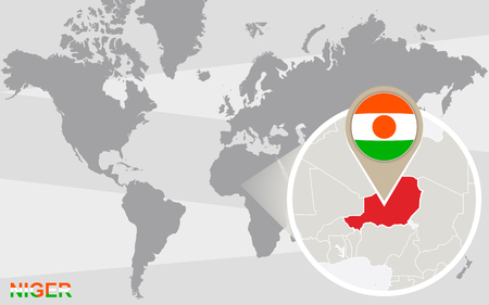 niger: World map with magnified Niger. Niger flag and map. Illustration