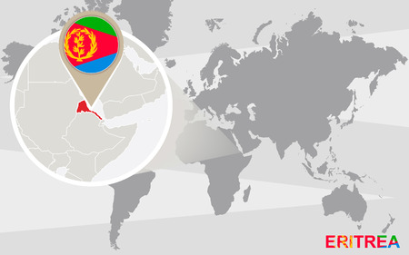 magnified: World map with magnified Eritrea. Eritrea flag and map. Illustration