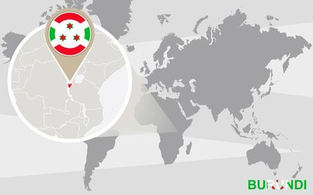 the great lakes: World map with magnified Burundi. Burundi flag and map.
