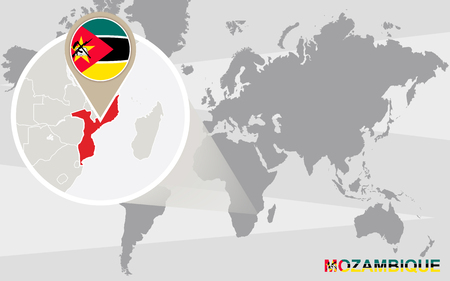 mozambique: World map with magnified Mozambique. Mozambique flag and map.