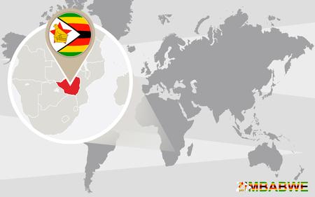 zimbabwe: World map with magnified Zimbabwe. Zimbabwe flag and map.