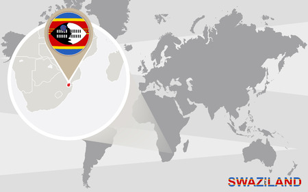 swaziland: World map with magnified Swaziland. Swaziland flag and map.