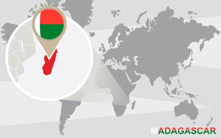 madagascar: World map with magnified Madagascar. Madagascar flag and map.