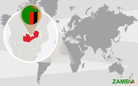 zambia: World map with magnified Zambia. Zambia flag and map.