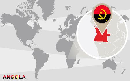 angola: World map with magnified Angola. Angola flag and map.