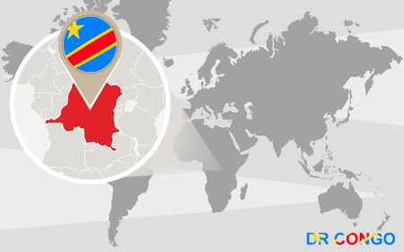 dr: World map with magnified DR Congo. DR Congo flag and map. Illustration