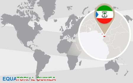 magnified: World map with magnified Equatorial Guinea. Equatorial Guinea flag and map.