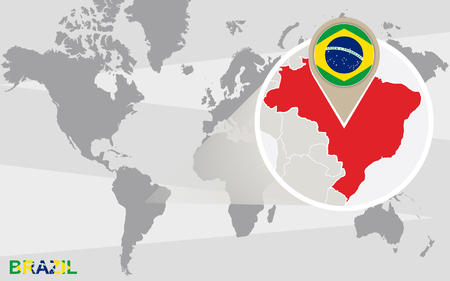 World map with magnified Brazil. Brazil flag and map.